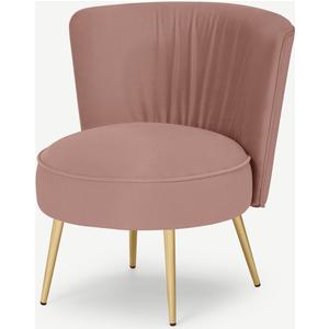 Cordova Accent Armchair, Vintage Pink Velvet Chairs, Pink