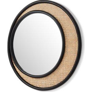 Made.com Coretta Round Rattan Round Wall Mirror, 80cm, Natural & Black , Natural