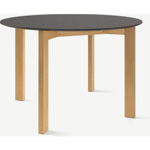 Made.com Niven 4 Seat Round Dining Table, Concrete & Oak Light Wood, Light wood