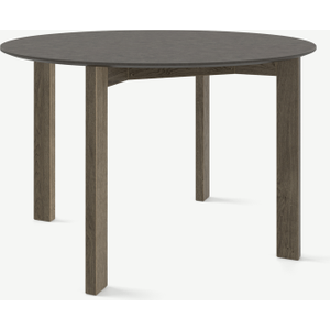 Made.com Custom Made Niven 4 Seat Round Dining Table, Concrete And Smoked Oak Dark Wood , Dark wood