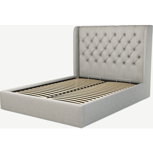 Made.com Romare King Size Ottoman Storage Bed, Ghost Grey Cotton, Grey