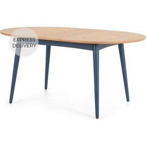 Made.com Deauville 4-6 Seat Oval Extending Dining Table, Oak And Slate Blue Blue,light Wood , Blue,Light wood