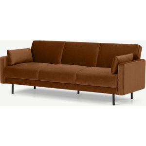 Made.com Delphi Click Clack Sofa Bed, Cinnamon Velvet Brown, Brown