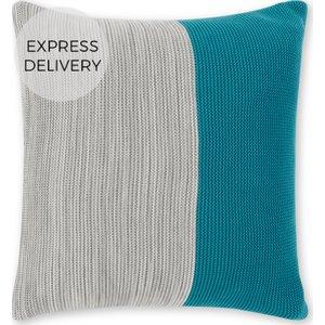 Made.com Digby 100% Cotton Knitted Cushion 50x50cm, Grey Blue Blue,grey , Blue,Grey