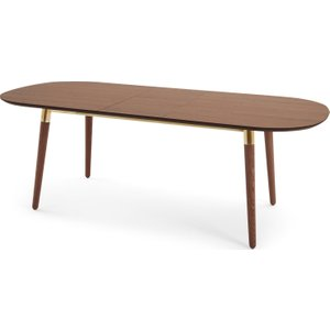 Made.com Edelweiss 6-8 Seat Oval Extending Dining Table, Walnut And Brass Dark Wood , Dark Wood