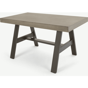 Edson Garden Dining Table, Cement And Metal Sheds & Garden Furniture, Grey