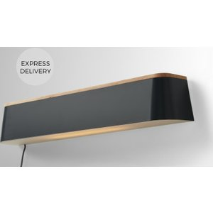 Made.com Elina Led Wall Lamp & Shelf, Grey & Rubberwood Grey,light Wood , Grey,Light wood