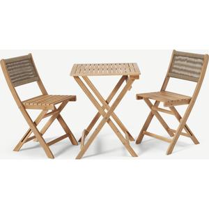 Elma Folding Bistro Set, Acacia Wood & Taupe Sheds & Garden Furniture, Taupe