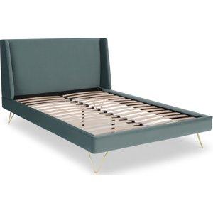 Made.com Elona Double Bed, Marine Green Velvet & Brass Legs