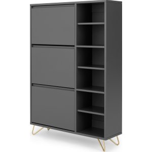 Made.com Elona Double Shoe Storage, Charcoal Grey And Brass , Grey