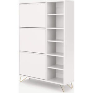 Made.com Elona Double Shoe Storage, Ivory White & Brass, White