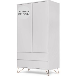 Made.com Elona Wardrobe, Grey & Copper , Grey