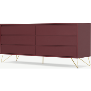 Made.com Elona Wide Chest Of Drawers, Oxblood Red & Brass , Red