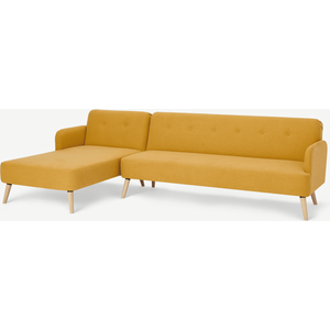 Made.com Elvi Left Hand Facing Chaise End Click Clack Sofa Bed, Butter Yellow, Yellow