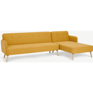 Made.com Elvi Right Hand Facing Chaise End Click Clack Sofa Bed, Butter Yellow, Yellow