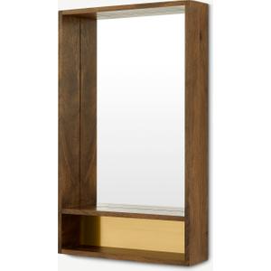 Emsworth Wall Mirror With Shelf, 50 X 80cm, Mango Wood & Brass Home Accessories, Brass
