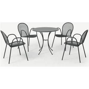 Made.com Emu 4 Seat Round Garden Dining Set, Dark Grey Powder-coated Steel, Grey