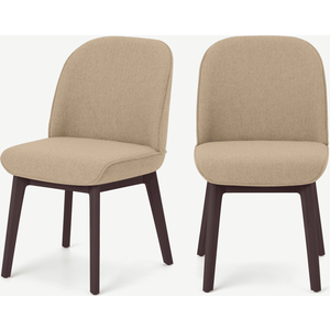 Made.com Erdee Set Of 2 Dining Chairs, Soft Beige Weave With Dark Stain Legs Natural, Natural