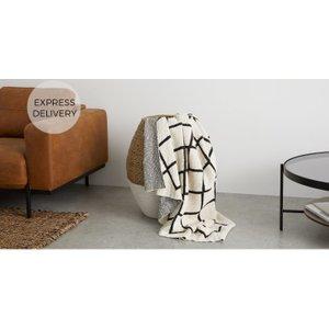 Made.com Fes Textured Cotton Throw, Off White & Black Black,white , Black,White