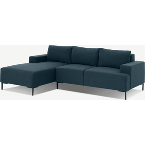 Made.com Frederik 3 Seater Left Hand Facing Compact Corner Chaise End Sofa, Aegean Blue, Blue