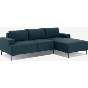 Made.com Frederik 3 Seater Right Hand Facing Compact Corner Chaise End Sofa, Aegean Blue, Blue