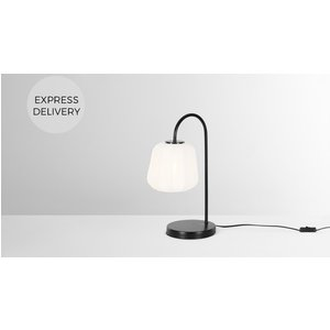 Made.com Grover Streched Fabric Table Lamp, White Black,white, Black,White