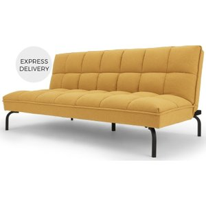 Made.com Hallie Click Clack Sofa Bed, Yolk Yellow With Black Legs , Yellow
