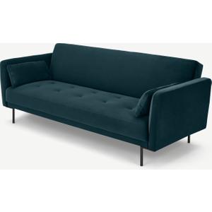 Made.com Harlow Click Clack Sofa Bed, Steel Blue Velvet, Blue