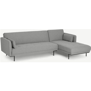 Made.com Harlow Right Hand Facing Chaise End Click Clack Sofa Bed, Mountain Grey, Grey