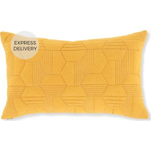 Made.com Hayden Geometric Quilted Cushion 30 X 50cm, Mustard Yellow , Yellow