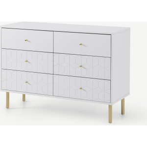 Made.com Hedra Wide Chest Of Drawers, Grey & Brass, Grey