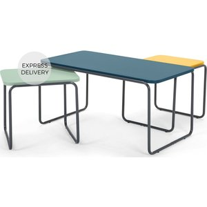 Made.com Hill Coffee And Set Of 2 Nesting Side Tables, Multicolour Blue,green,yellow