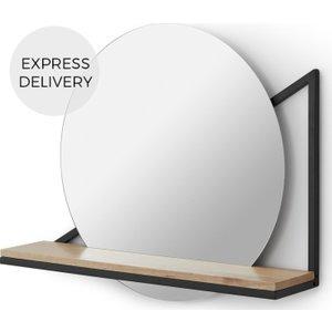 Made.com Huldra Wall Mounted Mirror With Shelf 46 X 55cm, Black Metal & Wood, Black
