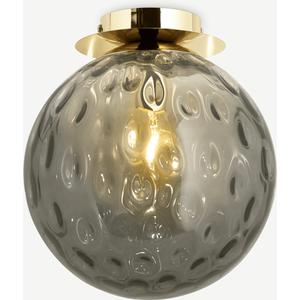 Made.com Ilaria Bathroom Flush Ceiling Light, Olive Glass & Brass Brass,green, Brass,Green