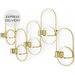 Made.com Kaia Wall Mounted Candleholder, Brass , Brass