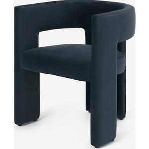Kalaspel Dining Chair, Dark Navy Blue Velvet Chairs, Blue