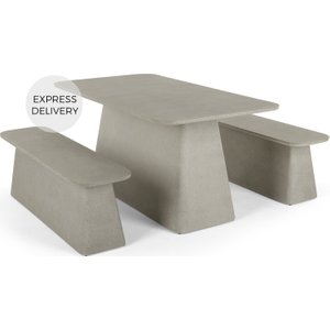 Made.com Kalaw Garden Dining Table And Bench Set, Concrete Grey , Grey