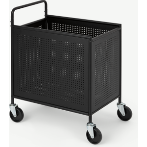 Made.com Kennedi Perforated Metal Extra Large Laundry Cart, Black , Black