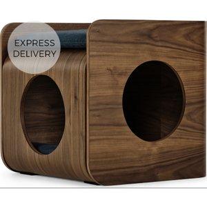 Made.com Kyali Square Cat Bed, Natural Walnut & Navy Dark Wood,navy, Dark wood,Navy