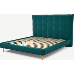 Made.com Lamas Super King Size Bed, Tuscan Teal Velvet With Oak Legs, Teal
