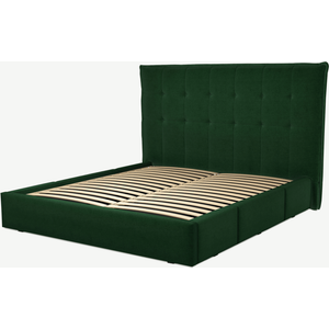 Made.com Lamas Super King Size Bed With Storage Drawers, Bottle Green Velevt, Green