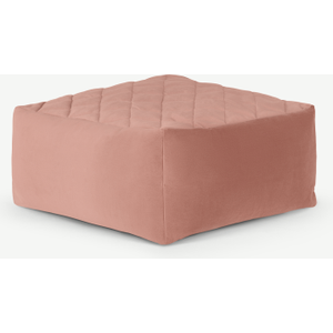 Made.com Loa Quilted Floor Cushion, Blush Pink Velvet , Pink