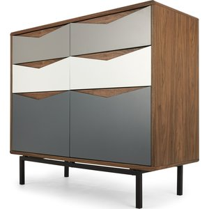 Made.com Louis Wide Chest Of Drawers, Walnut And  Charcoal Dark Wood,grey, Dark wood,Grey