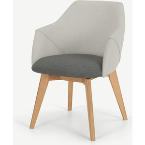 Made.com Lule Office Chair, Marl Grey And Hail Grey And Oak Grey,light Wood, Grey,Light wood