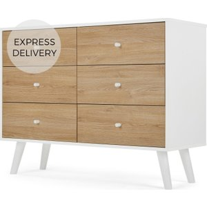 Made.com Made Essentials Larsen Wide Chest Of Drawers, Oak Effect & White Light Wood,white , Light wood,White