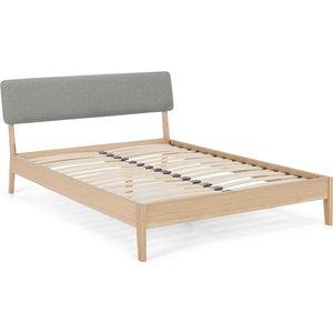 Made.com Made Essentials Noka Double Bed, Upholstered Cool Grey & Oak Light Wood , Light Wood