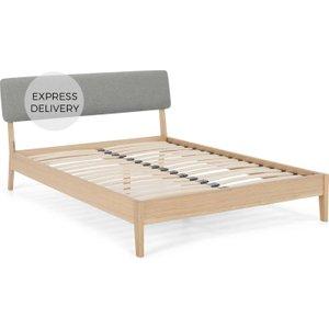 Made.com Made Essentials Noka King Size Bed, Upholstered Cool Grey & Oak Light Wood