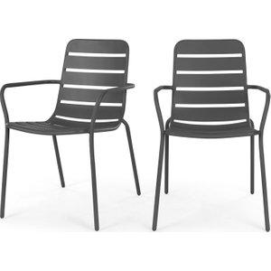 Made.com Made Essentials Set Of 2 Tice Garden Dining Chair, Grey , Grey