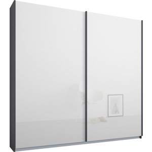 Made.com Malix 2 Door 181cm Sliding Wardrobe, Graphite Grey Frame,white Glass Doors , Classic Inter, White