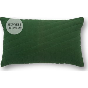 Made.com Maribel Quilted Cushion 30x50cm, Emerald Green , Green